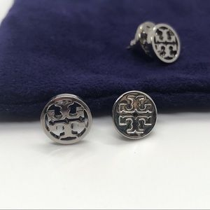 Tory Burch Silver Earrings Round with Signature T